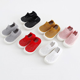 $enCountryForm.capitalKeyWord Australia - Baby Unisex Summer Flat Shoes 6+ Hollow Woven Fabric Solid Knitted Socks Shoe Breathable Slip-On Baby Shoes Elastic Sleeves Kids Shoes