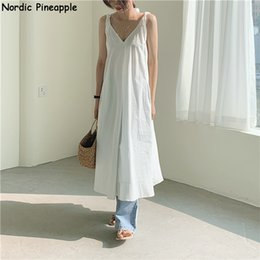 fairy style dresses NZ - 2020 Summer new Super beautiful seaside holiday style V-neck dress with condole belt fairy dress long