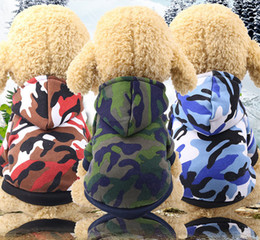 Wholesale 3 Color New Hot Fashion Pet Dog Puppy Costumes Camo Hoodies Hooded Sweatshirt Pullover Clothes Outfits Size XS XXL