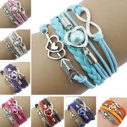$enCountryForm.capitalKeyWord Australia - Leather Bracelets For Women Wrap Infinity Love Heart Pearl Friendship Antique Leather Charm Bracelet pulseira feminina