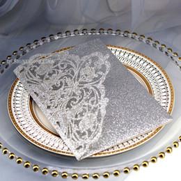 $enCountryForm.capitalKeyWord Australia - Shipped by DHL Silver Wedding Invitation, Glitter Laser Cut Invitations Cards for Wedding Bridal Shower Birthday Graduation Party Invites