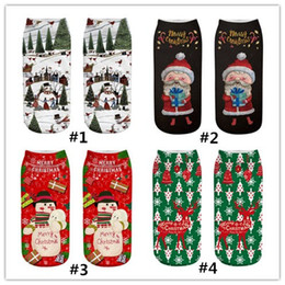 Cotton Print Material NZ - New Multiple styles Christmas material socks 3d printed socks free size Santa Claus gift Elk Christmas tree Christmas decorations