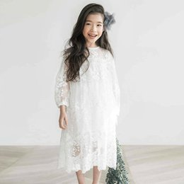 party clothes for little girls UK - Girls Lace Dress Summer Princess Party Embroidery White Dress For Little Girl Size 10 11 12 14 Years Teenage Clothes J190616