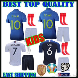 38f888589 Maillot de Foot enfant kids soccer jerseys 2019 mbappe football shirts kit  2 stars two etoiles Equipe de france french Jerseys pant socks