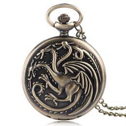 Targaryen dress online shopping - esigner fob watches Retro Bronze Game of Thrones Theme Quartz Pocket Watch Family Crests House Targaryen Drogan Design Fob Watches Neckla