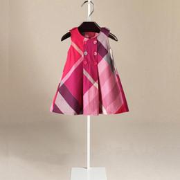 designer brand knee length dresses 2019 - Girls princess dresses girls plaid printed vest dresses summer new kids single breasted lattice A-line dress designer ki