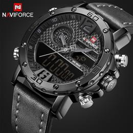 Luxury Quartz Sinobi Wrist Watch Australia - Top Luxury Brand Naviforce Men Casual Sport Watches Men's Leather Quartz Wrist Watch Male Military Led Date Analog Digital Clock Y19052201