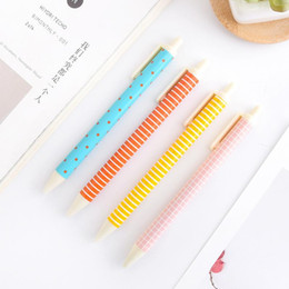 stationery wholesalers Canada - Fashion Kawaii Plastic Gel Pen 6 Colour 0.5mm Black Ink refill Neutral Pen Writing Signature Pen Korea Stationery Kids Gift School Supplies