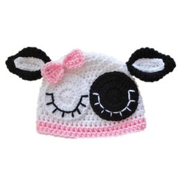 Little Beanie Australia - Lovely Knit Little Cow Hat with Pink Bow,Handmade Crochet Baby Girl Farm Animal Beanie Hat,Infant Cap,Newborn Toddler Photography Prop