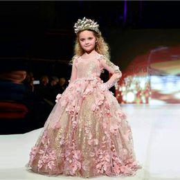 5389636c208fb Or rose 3D-Fleurs Filles Pageant Dress Mignonne Petite Fille Fleur Manches  Longues Événement Fête Porter Des Robes Maxi Des Robes Sur Mesure pour Jeune  ...