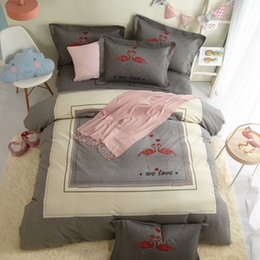 Brushed cotton Bedding set online shopping - Flamingo Bedding Set Queen King Size Bed Sheets Duvet Cover Brushed Cotton Print Dorm Apartments House Bedroom Textiles