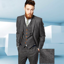 $enCountryForm.capitalKeyWord Australia - Tweed Gery Herringbone Men suit British Style Modern Blazer 3 Pieces Wedding Suits Herringbone Groom Suits (Jacket+pants+vest)