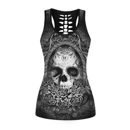 8182ae88f3fde3 Fashion Sexy Sleeveless O-neck Tank Top Women Print Skull Tops Female Vest  99