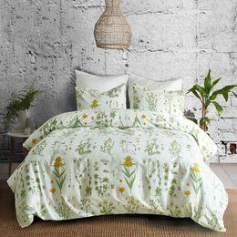 Bedding Set White Green NZ - Forcheer Bedding Set Duvet Cover Set Pillowcases Green White Twin King Size Single Bedding Home Textile