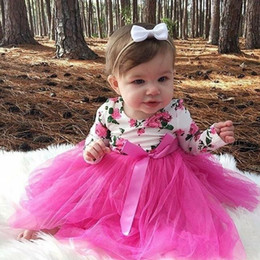 $enCountryForm.capitalKeyWord Australia - Newborn Baby Girls Infant Cute Cotton Floral Lace Tutu Tulle Dresses Kids Party Pageant Beach Wedding Bowknot Dresses Sundress