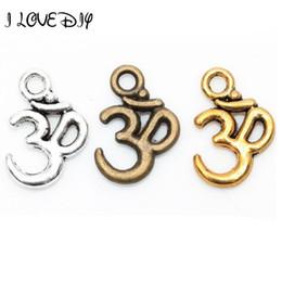 $enCountryForm.capitalKeyWord NZ - Wholesale-Lots 100 pcs Tibetan Silver ohm om Yoga Sign Buddha 3D Charm Pendants Findings 16mm