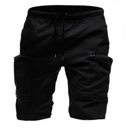 Mens Black Khaki Shorts Australia - MarKyi fashion men's shorts with pockets good quality 2019 summer bermuda styles shorts mens knee