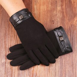 Thick Leather Gloves Australia - Fashion Men's Touch Screen Driving Gloves Winter Plus Plush Thick Warm Wool Leather Wrist Cashmere Sports Cycling Gloves S51