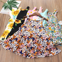 Wholesale knee length rayon dresses resale online – Kids Dress Rayon Floral Print Baby girl dresses Sleeveless Big Peplum Beach dress Summer kids clothes Cheap price Y
