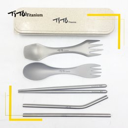 knife outdoor gift set Australia - TiTo Outdoor portable titanium Spoon gift set titanium Fork Ultralight Spork with short chopsticks and straw