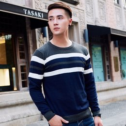 Wholesale collar knitwear resale online – Round Collar Striped Sweater Men Fashion Pullover Sweater Mens Casual Comfortable Male Knitted Warm Knitwear Men