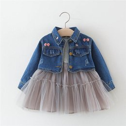 1efcd350b2ac New 2019 baby girl clothes kids designer clothes girls Outfits Denim  coat+Girls Dresses Baby Suit Toddler Dress Suits Infant Clothing A2989