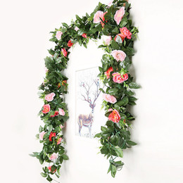 Wholesale Fake Rose Vine Flowers Plants Artificial Flower Garland Hanging Home Hotel Office Wedding Party Garden Craft Art Decor Support