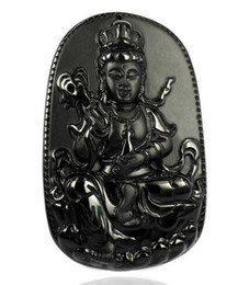 $enCountryForm.capitalKeyWord Australia - Natural Black Obsidian Carved Guanyin Pendant Beads Obsidian Necklace Carved Blessing Lucky Pendants Fashion Jewelry