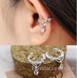 8bdc9d3f6 Trendy Women Party Stud Earrings Rose Gold Ear Clip without Earhole Crystal  Diamond CZ Eardrop Silver Drop Earrings Wedding Jewelry E124