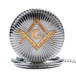 Masonic gifts for Men online shopping - Men s Luxury Silver Masonic Quartz Pocket Watch Chain Freemasonry Mason Necklace Pendant Watches Fashion Best Gift for Men Women