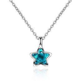 Blue Star Pendant Australia - Trendy Crystal Blue Star Pendant Necklace For Women Accessories Fashion Silver 925 Girls Choker Necklace Lady Princess Jewelry