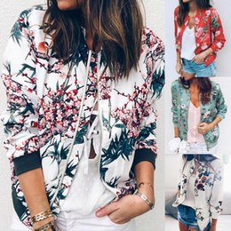 xl floral bomber jacket Australia - Outerwear & Coats Jackets Womens Ladies Retro Floral Zipper Up Bomber Outwear Casual coats and jackets women 2019