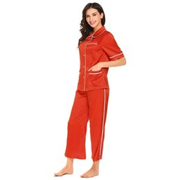 $enCountryForm.capitalKeyWord UK - Short with Sets Ankle Button Tops Women Pajamas Pants Sleeve Front Trumpet Patchwork Sleep Wide Home Length Leg