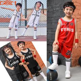 $enCountryForm.capitalKeyWord NZ - New 2019 children PYIRS 23 basketball T-shirt uniform suit, basketball jerseys,kid sport shorts and shirts Team competition clothes