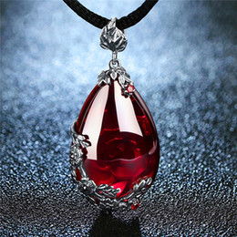 Gold Garnet Pendant Australia - EDI Retro Royal Garnet Gemstone 100% 925 Sterling Silver Natural Chalcedony Pendant Necklace Female Fine Jewelry Free Shipping