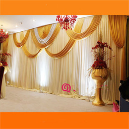 Drapes For Decorations Parties Australia - 3X6M Luxury Wedding Backdrop Curtain  Wedding Drapes With Silver Sequin Swag Pleated For Event&Party&Banquet&Home Decoration