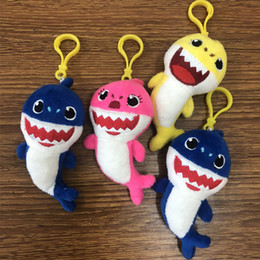 10CM BABY SHARK Hanging keychain 4inch Shark Key Chains Pendant Cartoon Plush&Stuffed Doll Toy 4'' Kids Favor Home Car Bag Decoration Yellow from pokemon figures free shipping manufacturers