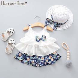 pink bear suit Australia - Humor Bear New Summer Baby Girl Clothes Strap Bow Vest + Floral Shorts + Fashion Hat 3pcs Set Baby Clothing Suit Girls Clothes Y19050801