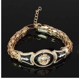 Wholesale hip hop heads online – oversize HOT SALE Hip Hop Gold Link Chain Bracelets for Male Rock Bracelet Bangles for Men Bulgaria Jewelry Chunky Lion Head Bracelet