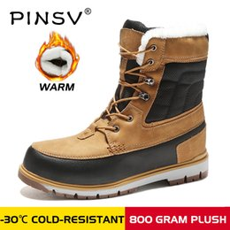 warm waterproof winter sneakers NZ - PINSV Winter With Fur Snow Boots For Men Sneakers Male Shoes Adult Casual Quality Waterproof Ankle -30 degree Celsius Warm Boots