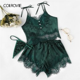 shirt thong Australia - Colrovie Green Satin Lace Cami Top And Shorts And Thong Pajama Set Women 2019 Fashion Pajamas Lounge Sleepwear Sexy NightgownMX190930