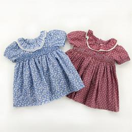 $enCountryForm.capitalKeyWord NZ - 7 Style Euro Exquisite Vintag girls Clothes dress Short Sleeve Pet Pan Collar Full Flower Dress 100% Cotton Summer girl Clothing Dress