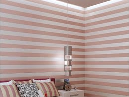 Roll White Paper Australia - 10 meter Fabric Mural wallpaper modern striped flock wall paper papel de parede tapete 3D Roll Wallpapers Beige Pink White