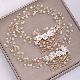 pearl gold hair clips Canada - Luxury Charming Bride Wedding Barrettes Handmade Imitation Pearl Flower Hair Clip Gold Color Hair Comb Women Headband Jewelry