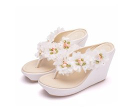 $enCountryForm.capitalKeyWord Australia - Wedges Shoes Sandals 2019 Summer Sandals Women Flower Flip Flops Platform Wedges Sandalias Plataforma Blancas Flip
