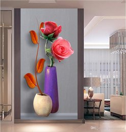 $enCountryForm.capitalKeyWord Australia - Customize HD Photo 3D Wallpaper Modern Vase Rose Flower Living Room Bedroom Entrance Hallway Backdrop Door Decor Wall Papers