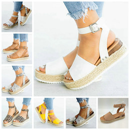 EuropEan womEn sandals wEdgE online shopping - European new explosions hemp rope wedge with light bottom fish mouth sandals female support mixed batch