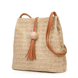 Wholesale 2019 New Fashion Summer Women Weave Straw Beach Bag Feminine  Woven Bucket Bag Grass Casual Tote Handbags Knitting Bags e8d92f38b783c