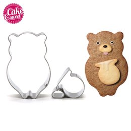 ceramic honey pots UK - Cookie Cutters Stainless Steel Animal Shape Biscuit A Bear With The Honey Pot Fondant Pastry Decorating Baking Tools Other Bakeware