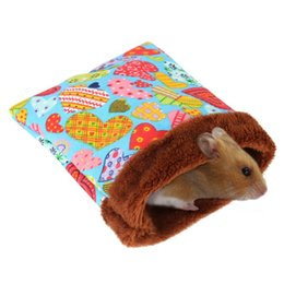 pig accessories UK - Warm Hamster Bed House Soft Plush Guinea Pig Bed Rat Nest Small Animals Mouse Sleeping Bag House Accessories Hamster Cage